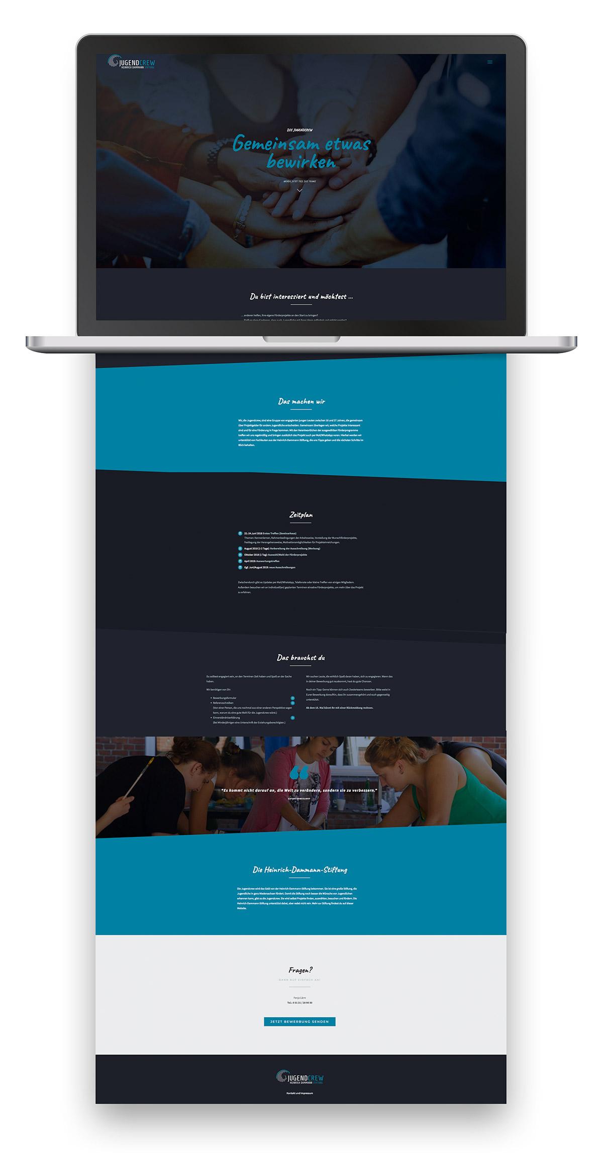 Webdesign für die Jugendcrew der Stiftung